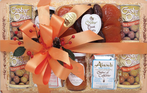 A lovely Graber Olives hostess box is all dolled up for the holidays and ready to ship